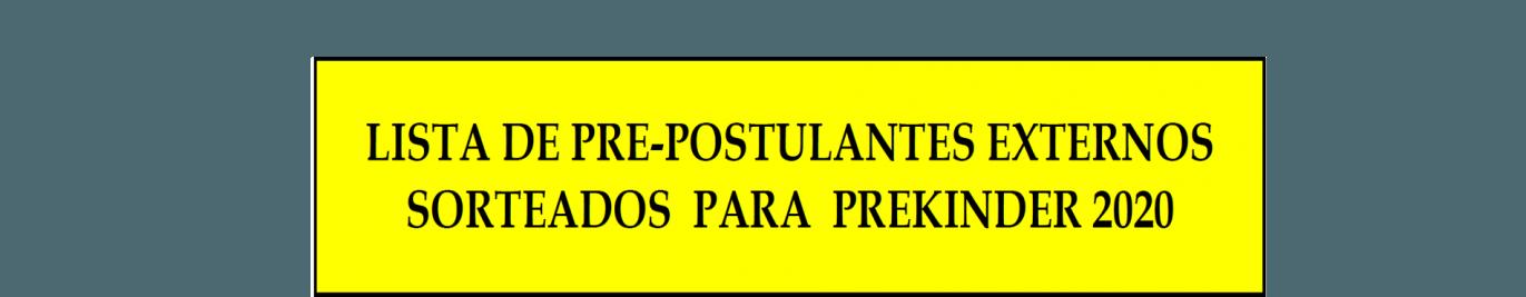 SORTEADOS PARA PREKINDER 2020